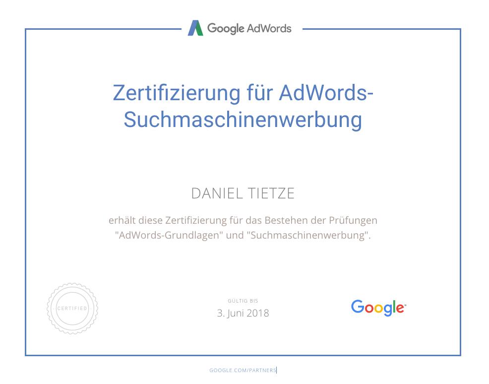 Zertifizierung für AdWords-Suchmaschinenwerbung für Daniel Tietze