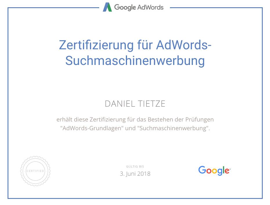 Zertifizierung für AdWords-Suchmaschinenwerbung für Daniel Tietze.