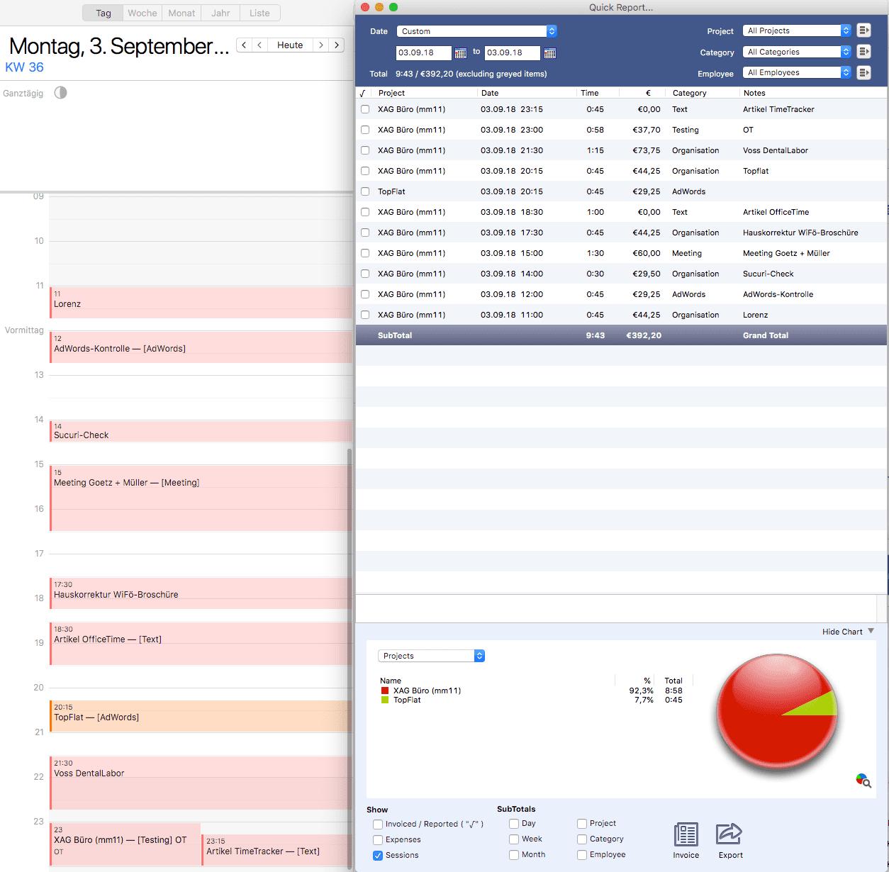 Zusammenspiel des Zeiterfassungs-Tools OfficeTime und des Kalenders: bidirektionaler Datenaustausch vereinfacht die Abrechnung erheblich.